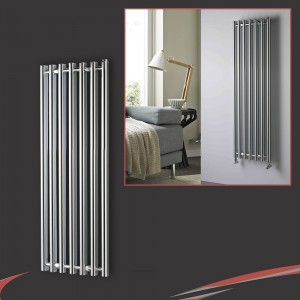 "390mm (w) x 1300mm (h) ""Titan"" Curved Chrome Vertical D-Profile Designer Radiator"