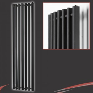 "390mm (w) x 1760mm (h) ""Titan"" Curved Black Vertical D-Profile Designer Radiator"