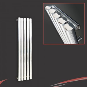 "260mm (w) x 1300mm (h) ""Nebula"" Chrome Vertical Designer Cylindrical Radiator (5 Tubes)"