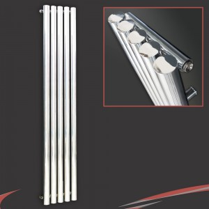 "260mm (w) x 1800mm (h) ""Nebula"" Chrome Vertical Designer Cylindrical Radiator (5 Tubes)"