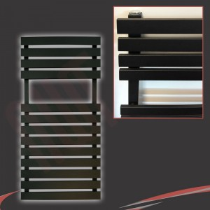 "500mm (w) x 788mm (h) ""Solar"" Black Designer Towel Rail"