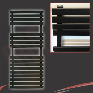 "500mm (w) x 1106mm (h) ""Solar"" Black Designer Towel Rail"