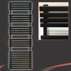"500mm (w) x 1742mm (h) ""Solar"" Black Designer Towel Rail"