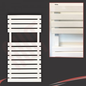 "500mm (w) x 788mm (h) ""Solar"" White Designer Towel Rail"