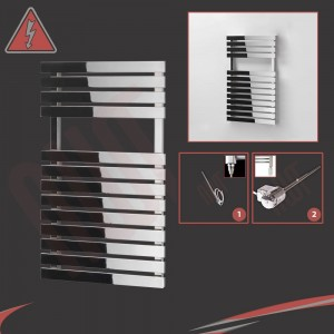 "500mm (w) x 788mm (h) Electric ""Solar"" Chrome Designer Towel Rail (Single Heat or Thermostatic Option)"