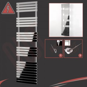 "500mm (w) x 1742mm (h) Electric ""Solar"" Chrome Designer Towel Rail (Single Heat or Thermostatic Option)"