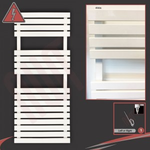 "500mm (w) Electric ""Solar"" White Designer Towel Rail (Single Heat or Thermostatic Option)"