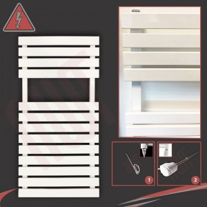 "500mm (w) x 788mm (h) Electric ""Solar"" White Designer Towel Rail (Single Heat or Thermostatic Option)"