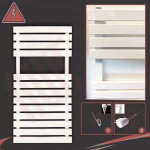 "500mm (w) x 788mm (h) Electric ""Solar"" White Designer Towel Rail (Single Heat or Thermostatic Option)"
