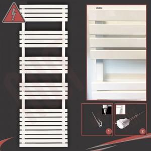 "500mm (w) x 1742mm (h) Electric ""Solar"" White Designer Towel Rail (Single Heat or Thermostatic Option)"