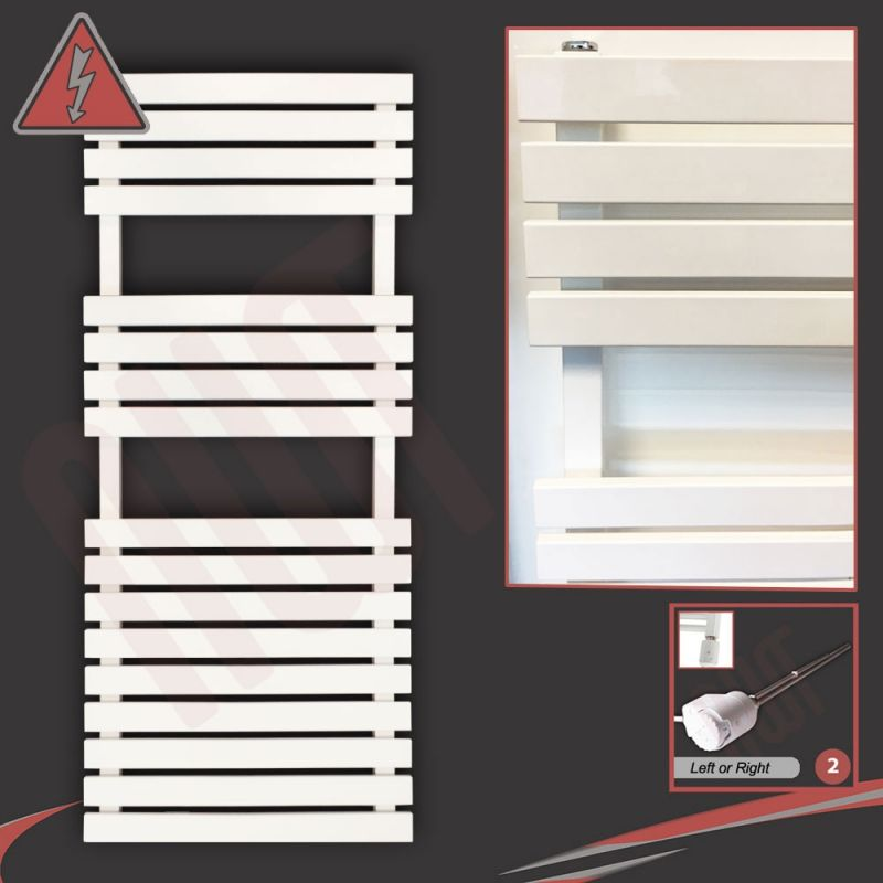 Flat Designer Thermostatic Electric Heating Heated: 500mm (w) X 1106mm (h) Electric Solar White Towel Rails