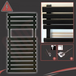 "500mm (w) x 788mm (h) Electric ""Solar"" Black Designer Towel Rail (Single Heat or Thermostatic Option)"