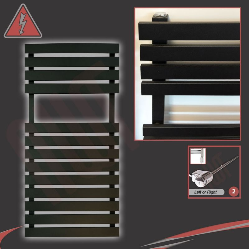 Flat Designer Thermostatic Electric Heating Heated: 500mm (w) X 788mm (h) Electric Solar Black Towel Rails
