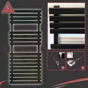 "500mm (w) x 1106mm (h) Electric ""Solar"" Black Designer Towel Rail (Single Heat or Thermostatic Option)"