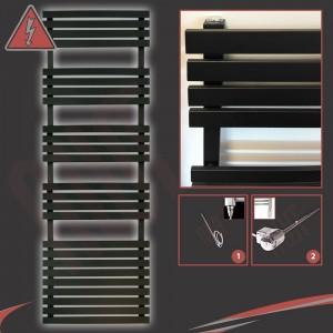 "500mm (w) x 1742mm (h) Electric ""Solar"" Black Designer Towel Rail (Single Heat or Thermostatic Option)"