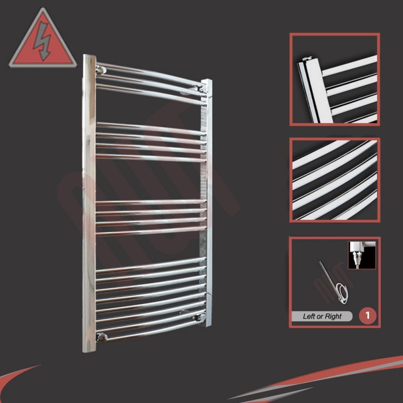 "600mm (w) x 1000mm (h) Electric ""Curved Chrome"" Towel Rail (Single Heat or Thermostatic Option)"