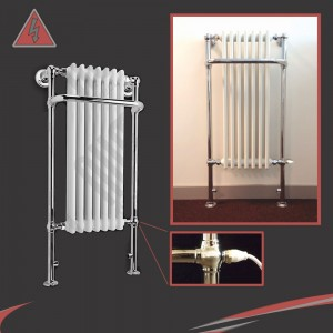 "550mm (w) x 1130mm (h) ""Abbey"" Electric Traditional Towel Rail (Single Heat)"