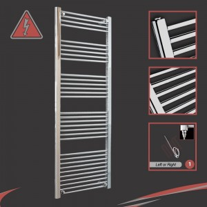 600mm (w) x 1600mm (h) Electric Straight Chrome Towel Rail (Single Heat or Thermostatic Option)