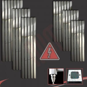 """Corwen"" Chrome Electric Vertical Radiators (6 Sizes - Single Heat or Thermostatic Option)"