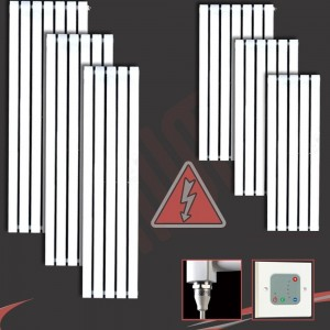 """Corwen"" White Electric Vertical Radiators (6 Sizes - Single Heat or Thermostatic Option)"
