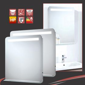 """Phantom"" Designer LED Bathroom Mirror - Heat Demister, Motion On/Off, Shaver Socket & Shelf (2 Sizes)"
