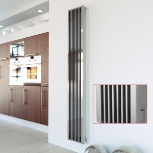 "Aeon ""Stria"" Designer Brushed Stainless Steel Radiator"
