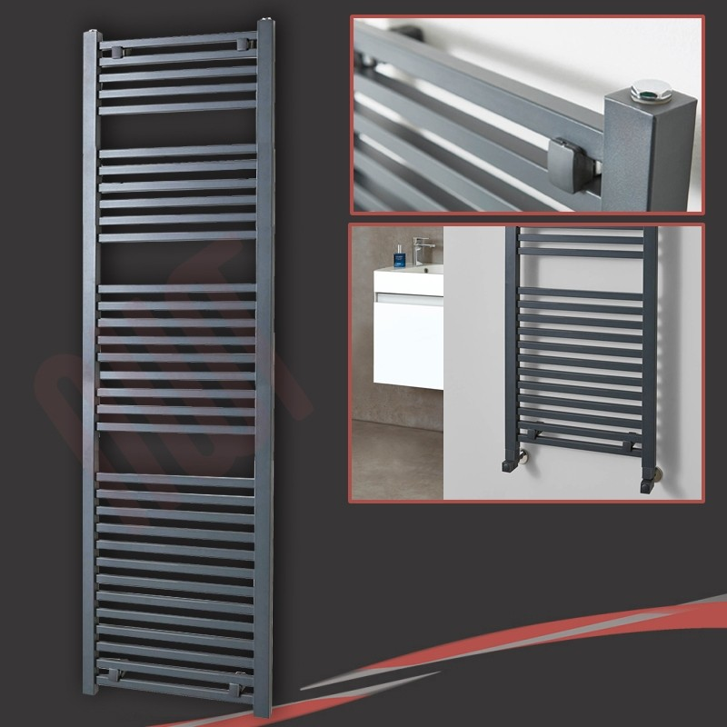 "500mm (w) x 1800mm (h) ""Atlas"" Anthracite Designer Towel Rail"