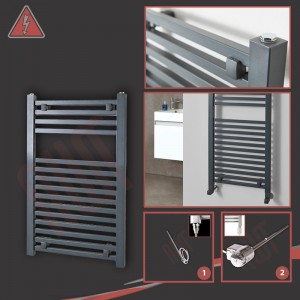 "500mm (w) x 800mm (h) Electric ""Atlas"" Anthracite Heated Towel Rail (Single Heat or Thermostatic Option)"