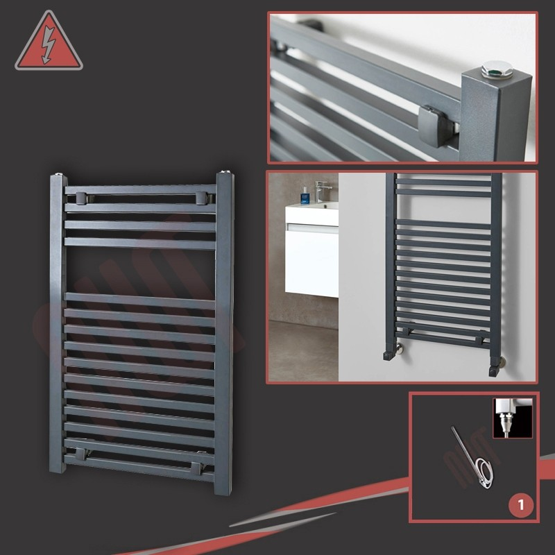 """500mm (w) x 800mm (h) Electric """"Atlas"""" Anthracite Heated Towel Rail (Single Heat or Thermostatic Option)"""