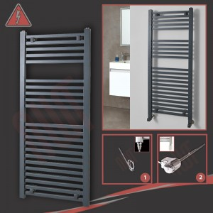 """500mm (w) x 1200mm (h)Electric """"Atlas"""" Anthracite Heated Towel Rail (Single Heat or Thermostatic Option)"""