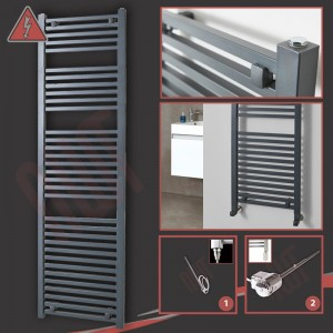 "500mm (w) x 1800mm (h) Electric ""Atlas"" Anthracite Heated Towel Rail (Single Heat or Thermostatic Option)"