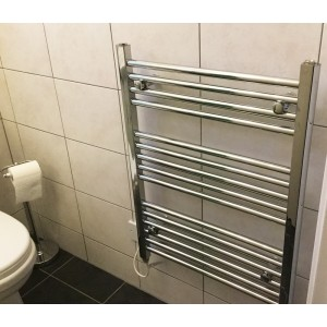 600mm (w) x 800mm (h) Electric Straight Chrome Towel Rail (Single Heat or Thermostatic Option)