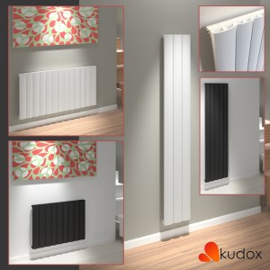 "Kudox ""AluLite Arc"" Vertical & Horizontal Aluminium Designer Radiators - White OR Black (5 Sizes)"