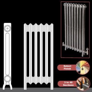 "The ""Mayfair"" 2 Column 740mm (H) Traditional Victorian Cast Iron Radiator (3 to 40 Sections Wide) - Choose your Finish"