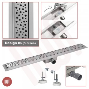 "Design 6 - Stainless Steel ""Rectangular"" Wetroom Drainage System - 5 Sizes (600mm to 1500mm)"