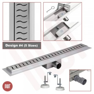 """Design 4 - Stainless Steel """"Rectangular"""" Wetroom Drainage System - 5 Sizes (600mm to 1500mm)"""