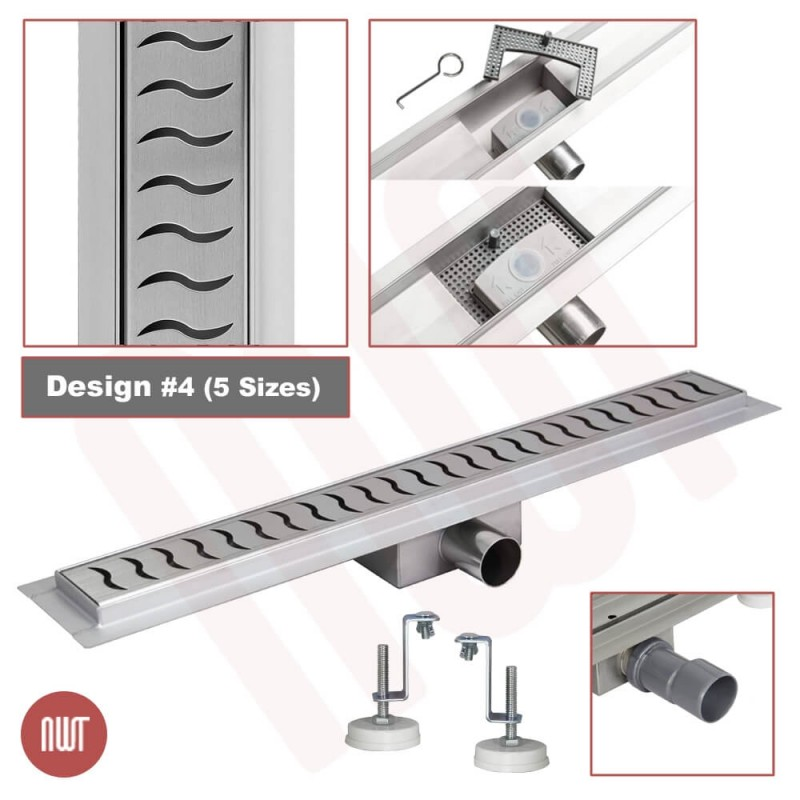"Design 4 - Stainless Steel ""Rectangular"" Wetroom Drainage System - 5 Sizes (600mm to 1500mm)"