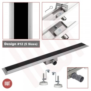 "Design 12 - Stainless Steel & Black Glass Inlay ""Rectangular"" Wetroom Drainage System - 5 Sizes (600mm to 1500mm)"