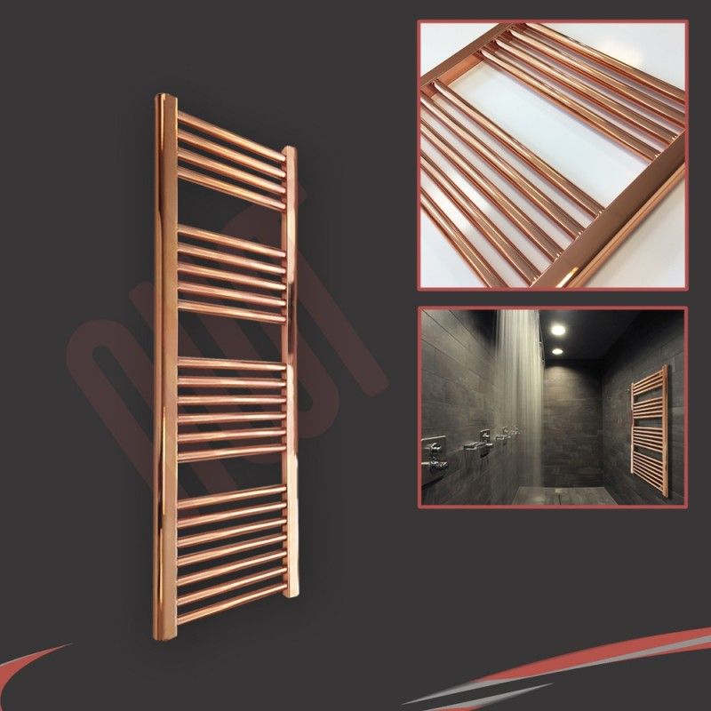 "300mm (w) x 1200mm (h) ""Straight Copper"" Designer Towel Rail"