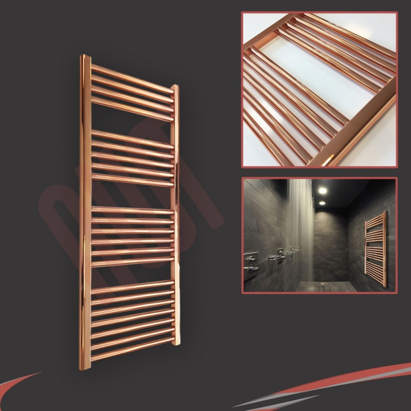 "400mm (w) x 1200mm (h) ""Straight Copper"" Designer Towel Rail"