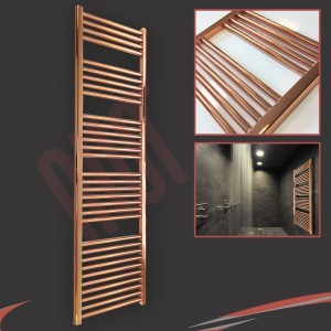 "400mm (w)  x 1600mm (h) ""Straight Copper"" Designer Towel Rail"