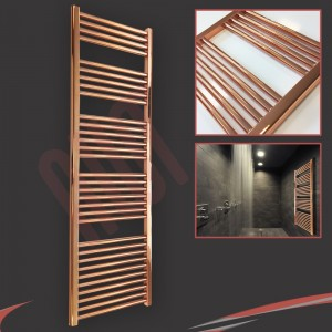 "500mm (w)  x 1600mm (h) ""Straight Copper"" Designer Towel Rail"