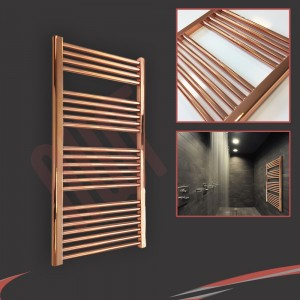 "600mm (w)  x 1200mm (h) ""Straight Copper"" Designer Towel Rail"