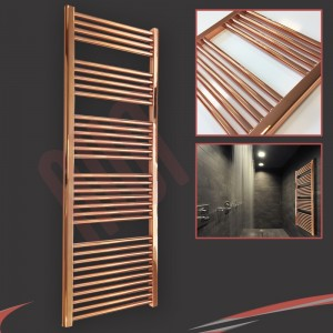"600mm (w)  x 1600mm (h) ""Straight Copper"" Designer Towel Rail"