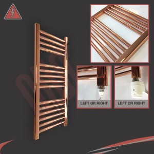 "300mm (w) x 800mm (h) Electric ""Copper"" Towel Rail (Single Heat or Thermostatic Option)"