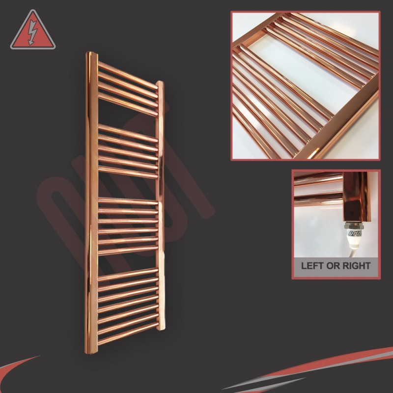 "300mm (w) x 1200mm (h) Electric ""Copper"" Towel Rail (Single Heat or Thermostatic Option)"