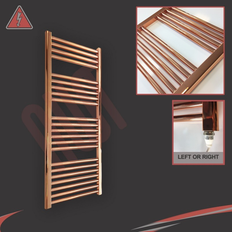 """400mm (w) x 1200mm (h) Electric """"Copper"""" Towel Rail (Single Heat or Thermostatic Option)"""
