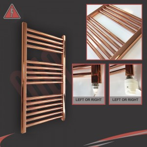 """500mm (w)  x 800mm (h) Electric """"Copper"""" Towel Rail (Single Heat or Thermostatic Option)"""