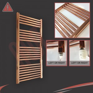 """500mm (w)  x 1200mm (h) Electric """"Copper"""" Towel Rail (Single Heat or Thermostatic Option)"""