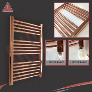 """600mm (w)  x 800mm (h) Electric """"Copper"""" Towel Rail (Single Heat or Thermostatic Option)"""